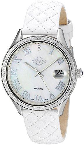 GV2by Gevril Asti para Mujer con Diamantes Correa de Piel Color Blanco Reloj de Cuarzo Swiss, (Modelo: 1800)