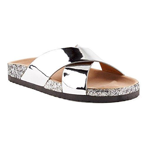Fusskleidung Damen Sandalen Lack Glitzer Komfort Sandaletten Metallic Schlappen Zehentrenner Hausschuhe Pantoletten Köln-Silber EU 36