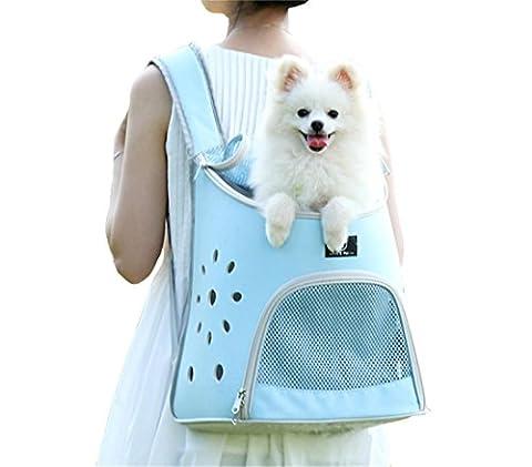 Haustier-Rucksack FüR Kleine Hundekatze, Welpen-KäTzchen-Doppelt-Schulter-Beutel Mit Weichem Aber Form, Das Matte HäLt, Einfach Zu SäUbern , blue