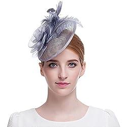 Red de malla tocado de plumas de para mujer gorro con pelo clip cóctel boda Headwear gris gris Talla única