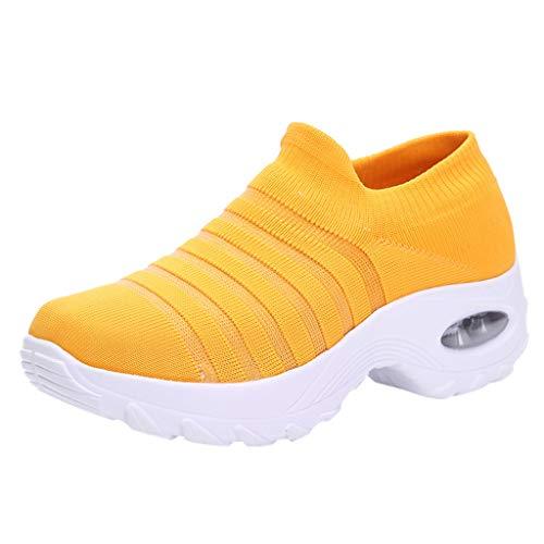 Damen Wanderschuhe Socken Sneakers Plateauschuhe Abriebfeste Mesh Sportschuhe Slip On Turnschuhe Freizeitschuhe Lazy Schuhe, Gelb-2, 40 EU