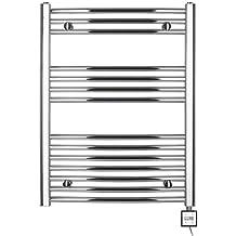 Radiador toallero eléctrico H 775 x 500b,con temporizador curvada de cromo