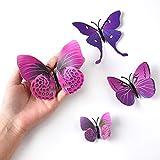 TUPARKA 36 Stück 3D Schmetterlinge Deko Schmetterling Wanddeko Butterfly Wandsticker 3D Wandtatoo Schmetterlinge Balkon Deko (Pink-Lila) - 3