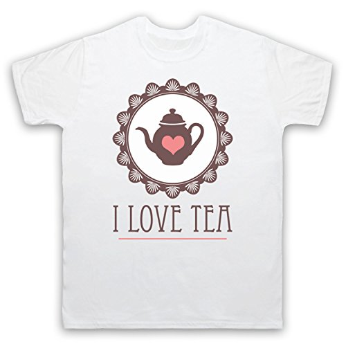 I Love Tea Slogan Herren T-Shirt Weis