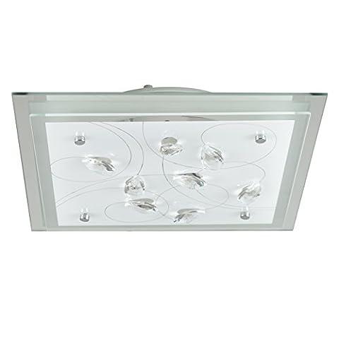 MiniSun Plafonnier Contemporain, 'BARTON'. Design Moderne. Panneaux de Verre Carre Blanc & Chrome Orné avec Véritable Cristal de Plomb K5