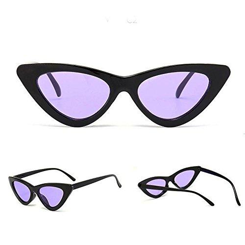 Zhen + Katzenauge Kunststoff Rand Rahmen Damen Frau Mode Sonnebrille Gespiegelte Linse Women Sunglasses, Unisex-Sommer Weinlese Retro Katzen Augen Gläser -Ultraleicht Rahmen (M)