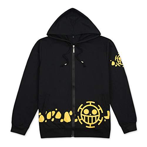 Cosstars One Piece Trafalgar Law Anime Kapuzenpullover Sweatshirt Cosplay Kostüm Hoodie Jacke Top Mantel Schwarz Plus Samt ()