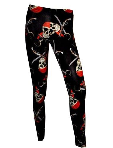 Pirate Skull Printed Leggings nero Large
