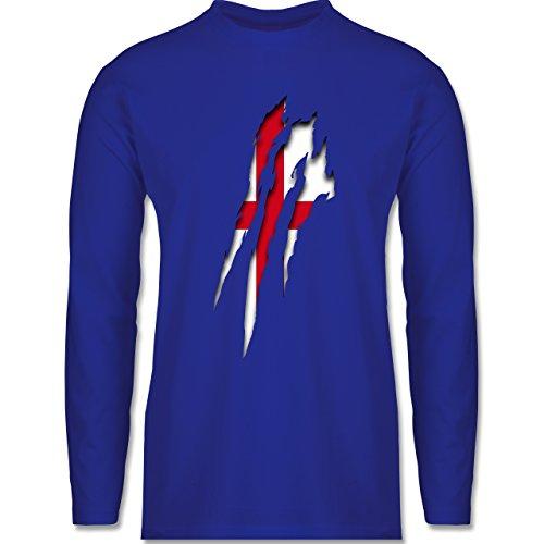 Länder - England Krallenspuren - Longsleeve / langärmeliges T-Shirt für Herren Royalblau