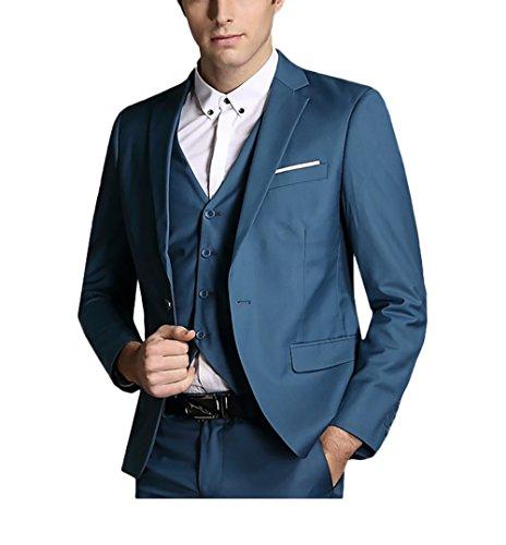Slim Fit 3-Teilig Business Herrenanzug ein Knopf Smoking Blau