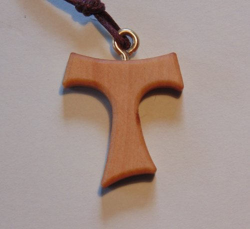 Taukreuz, Antonius Kreuz, Franziskuskreuz, T-Kreuz Anhaenger mit Textilkordelband