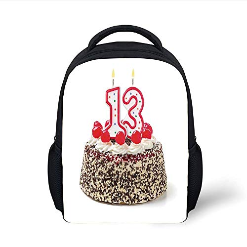 Kids School Backpack 13th Birthday Decorations,Cake with Numeral Candles and Cherries Yummy Desert for Party,Multicolor Plain Bookbag Travel Daypack - Beste Rucksack Sprayer