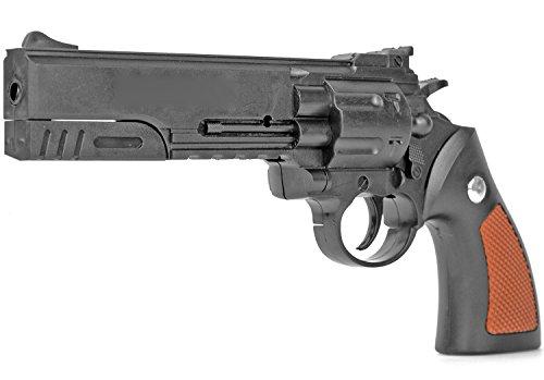 Softair-Pistole Revolver XXL 25 cm Federdruck Spielzeug-Waffe max. 0,5 Joule im Set mit 6 mm BB Airsoft Munition (Airsoft Revolver Western)