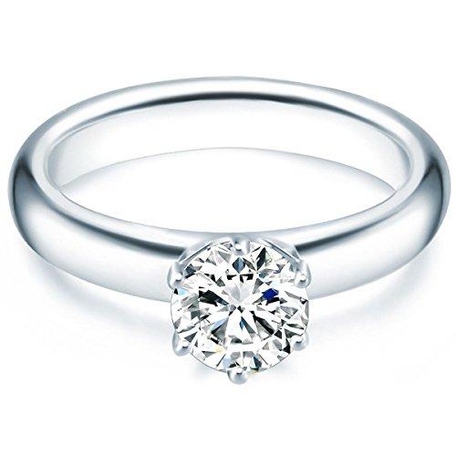 Tresor 1934 Annelli da Donna / Anello di fidanzamento / Solitario in Argento Sterling 925 con rodio Zircone bianco 60451017