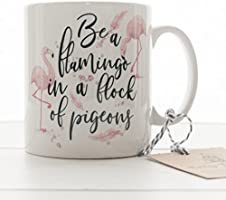 Flamingo Mug, Inspirational Quote Ceramic mug, Be a Flamingo in a Flock of Pigeons, unique coffee cup, best friend gift,