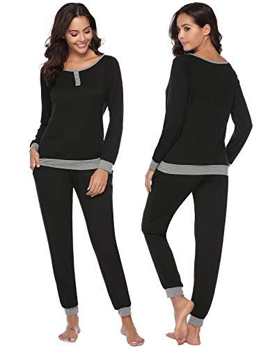Abollria Damen Baumwolle Schlafanzug Mädchen Einfarbige Pyjama Set Lang Zweiteilige Nachtwäsche Hausanzug Sleepwear öko Freizeitanzug Hausanzug Anzug