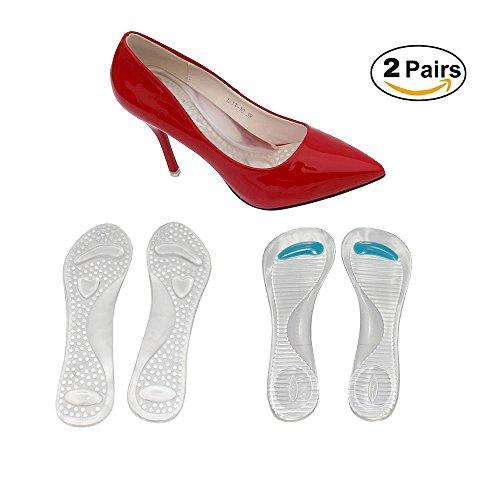 Gel High Heel Kissen zur Schmerzlinderung,3/4 High Heel Einlegesohlen mit Arch Support für Frauen Pump Sandalen Stiefel,Selbstklebende Schuh-Pads(2 Paar)