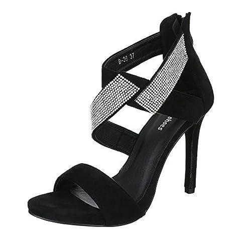 High Heel Sandaletten Damen-Schuhe Plateau Pfennig-/Stilettoabsatz Strass Reißverschluss Ital-Design Sandalen / Sandaletten Schwarz, Gr 38,