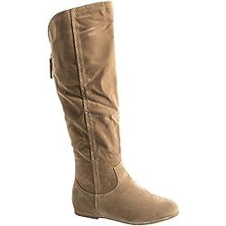 Elara Mujer Botas, luz Blanca cálida Forrado | Cómodo Langschaft Boots | Planas Zipper, Color Beige, Talla 38 EU