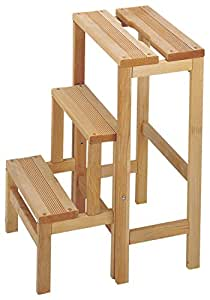 mueblear 11300 hocker leiter drei stufen holz ohne nagellack 36 x 42 x 59 cm k che. Black Bedroom Furniture Sets. Home Design Ideas