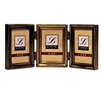 Lawrence Frames Antique Pewter 4x6 Hinged Triple Picture Frame - Bead Border Design