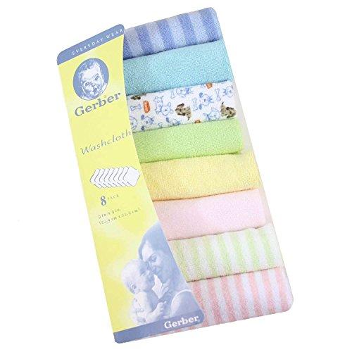 Gerber Hosiery 8Pcs Newborn Baby Soft Cotton Bath Towels Handkerchiefs Bandana Drool Bibs Washcloth (Multicolor)