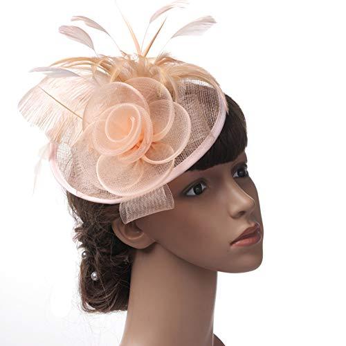 Fascinator Hats for Women - Cocktail-Netz-Tea-Party-Hüte für Damen Kopfbedeckung mit Clip und Blume,leshPink