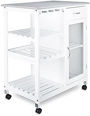 Relaxdays Carrito de cocina funda para carrito con 4ruedas y 3estantes, madera, color blanco, 88x 76x 48cm