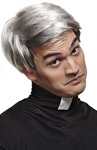 Kostüm Herren Opa - Herren grau Priester Pfarrer alter Mann Opa Großvater Kostüm Perücke Zubehör - grau, One size