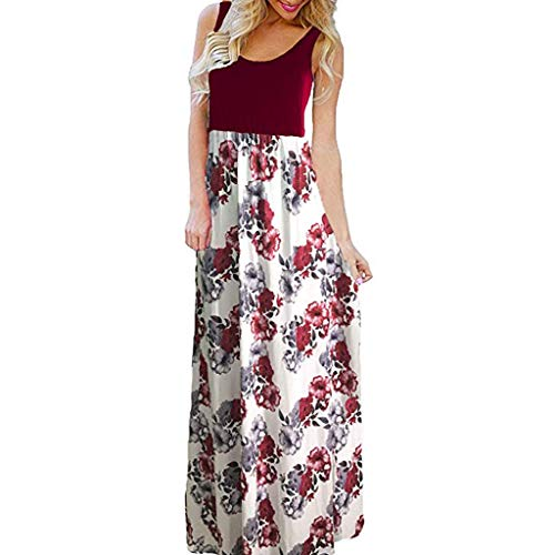 Hahuha  Frauen Kleid. Women es Summer Boho Sleeveless Floral Print Tank Long Maxi Dress -