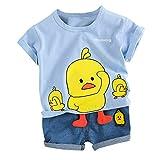 Zylione Kinder Kleidung Set Junge Baby Kurzarm Cartoon Entlein Shirt T-Shirt + Shorts Zweiteilige Kindertagesgeschenk