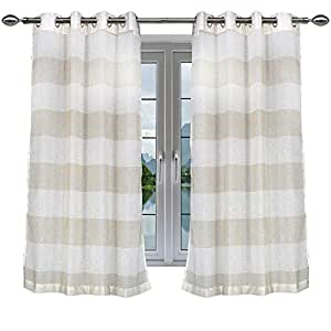 LINENWALAS Elegant 2 Toned Shaded Sheer 4.5x5ft Window Curtains with Eyelet Rings - Off White & Yellow, Set of 2 Panels