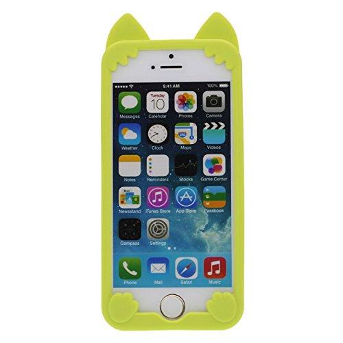 Coque iPhone SE Joli Chat Style Forme Série Silicone Gel [ Surface lisse ] Super Doux Coque Housse de Protection Case pour Apple iPhone 5 iPhone 5S 5C avec 1 stylet vert