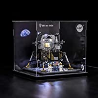 POXL Acrylic Display Case/Box for (Nasa Apollo 11 Lunar Lander) Building Kit Models - Dustproof Display Box Compatible with Lego 10266 (ONLY Display Box)
