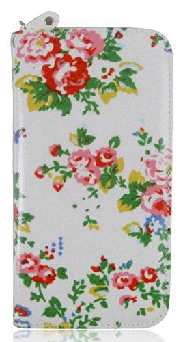 Frizione Portafoglio Portamonete Grande Modello Di Kukubird Stampa Floreale Rose White