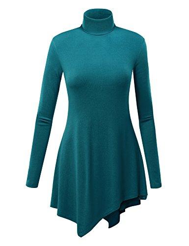 Lock and Love LL Damen Tunika mit Langen Ärmeln und Saum, blau - XXX-Large - Ribbed Knit Tunika