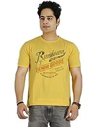 Basilio Men's Graphic Prints Pure Cotton Yellow T-Shirt