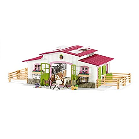 Schleich Horse Club 42344 Riding Centre with Rider and Horses Figurine