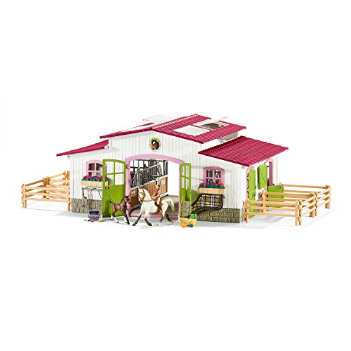 Schleich 42344 Reiterhof mit Reiterin und Pferden (Figur Baby Vogel)