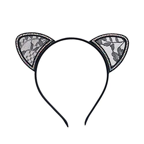 Toyvian Schwarze Katze Ohren Spitze Ohren Stirnband Kopfschmuck Strass Haarband Zubehör Party Kostüm Liefert (Ohren Strass Katze Stirnband)
