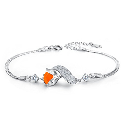 Clearine Damen 925 Sterling Silber Oval Cubic Zirconia Blatt Cute Fuchs Armband Armkette (Und Mutter Cute Kostüme Tochter)