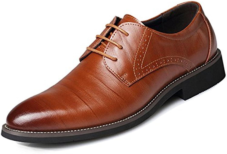 XDGG Männer echtes Leder spitzte Zehe Business Casual Schuhe Große Größe Arbeit Hochzeit Schuhe   yellow   41