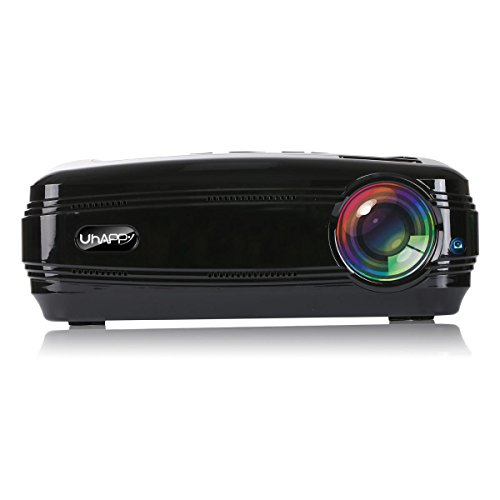 UHAPPY Zuhause HD Beamer 3200 Lumen 1080P 20000 Stunden LED-Leben LED Büro Dia-Projektor , black
