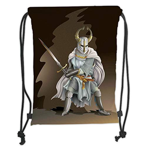 Trsdshorts Medieval Decor,Illustration of Heavy Armored Knight of Kingdom Empire in The Past Times Culture,White Brown Soft Satin,5 Liter Capacity,Adjustable String