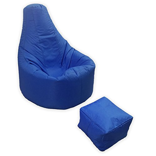 Large Gaming Beanbag Indoor And Outdoor Garden Lounge Gamer Chair with matching Foot Stool in Blue High Quality Water Resistant Material by MaxiBean