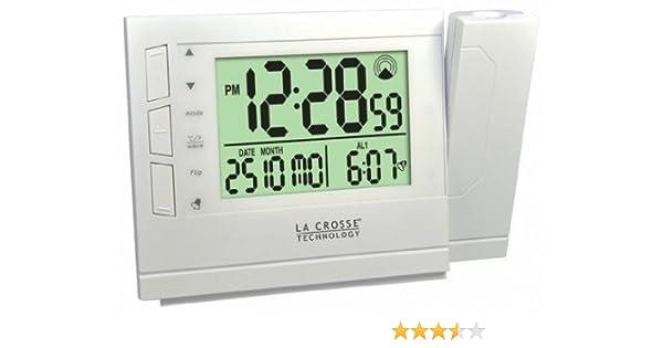 La Crosse Technology WT519 Réveil radio piloté avec projection de l'heure Blanc