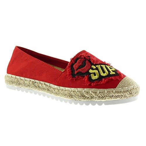 Angkorly Damen Schuhe Espadrilles Mokassin - Slip-on - Sneaker Sohle - Fantasy - Bestickt - Seil Flache Ferse 2.5 cm Rot