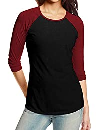 Blusa de Mujer otoño Leotardo Blusa Camisetas de béisbol Empalme Patchwork Manga Absolute