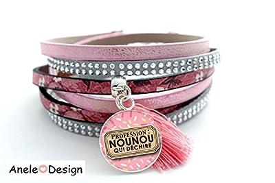 Bracelet manchette Rose Profession Nounou qui déchire