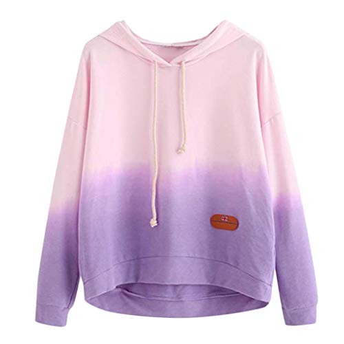 TWIFER Frauen Hoodie Gedruckt Patchwork Sweatshirt Langarm Pullover Tops Bluse - Baumwolle Bestickt Verziert Top